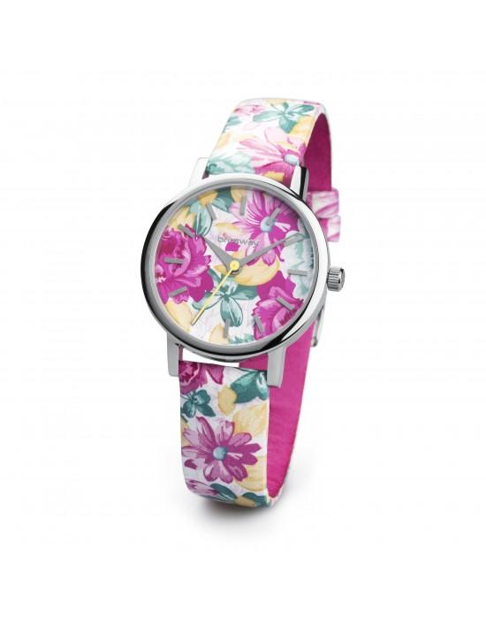 Orologio GITANA acc quadr. stampa floreale/sfondo bianco