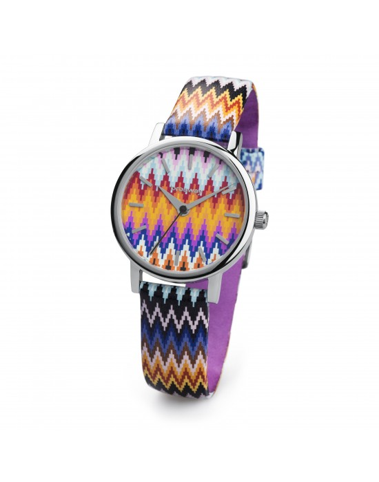 Orologio GITANA acc quadr. stampa geometrica colorata