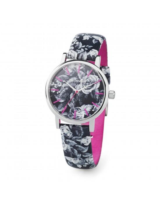 Orologio GITANA in acciaio con rose bianche su sfondo nero